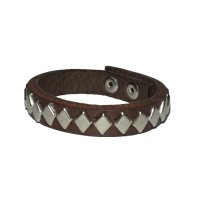 DIAMOND STUDS BRACELET  BROWN-SILVER