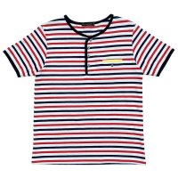 STRIPED HENLEY NECH SHIRTS  WHITE-NAVY-RED