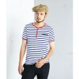 画像7: STRIPED HENLEY NECH SHIRTS <br>WHITE-BLUE (7)