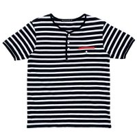 STRIPED HENLEY NECH SHIRTS  BLACK-WHITE
