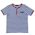 画像1: STRIPED HENLEY NECH SHIRTS <br>WHITE-BLUE (1)