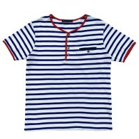 STRIPED HENLEY NECH SHIRTS  WHITE-BLUE
