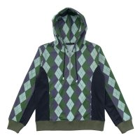 ARGYLE HALF ZIP HOODIES  OLIVE MIX
