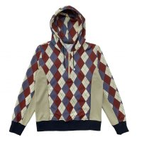 ARGYLE HALF ZIP HOODIES  BEIGE MIX